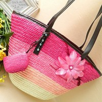 Women's Feather Flower Color Block Tote Strap