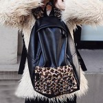 Women's Leopard Rivet Decor Backpack