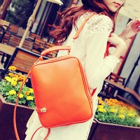 Women's Vintage Solid Color Backpack With Strap