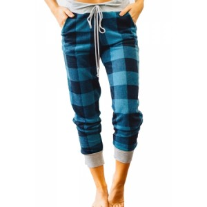 Black Green Buffalo Plaid Jogger Pants Red