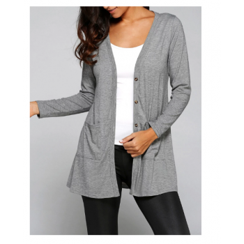 Collarless Long Sleeve Loose Buttons Cardigan - Gray