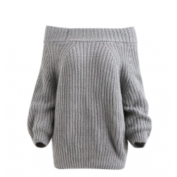 Off The Shoulder Pullover Chunky Sweater - Gray