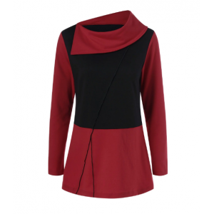 Side Collar Long Sleeve T-Shirt - Red With Black