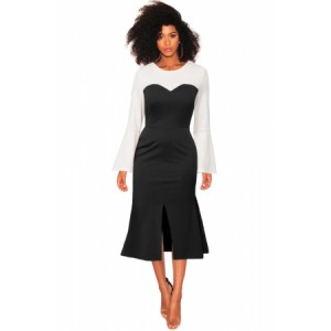 Long Bell Sleeve Black Sweetheart Patchwork Midi Dress Black Brown