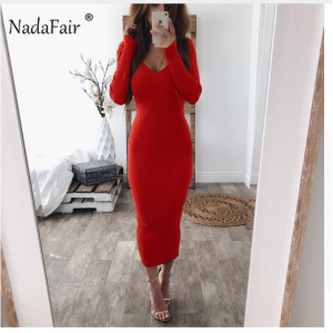Nadafair knitted sweater bodycon long winter dresses women autumn v neck long sleeve sexy