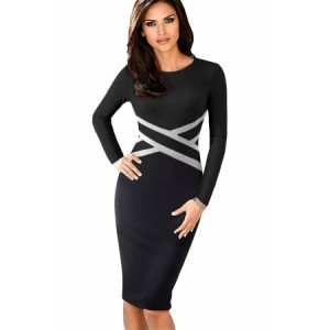 Black Contrast Waist Long Sleeve Sheath Dress Blue