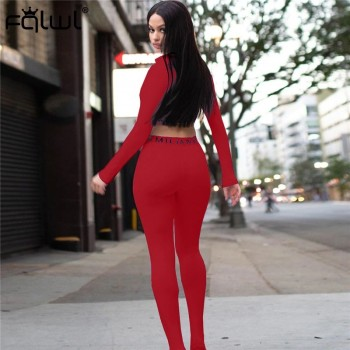 FQLWL Streetwear White Pink 2 Two Piece Set Women Outfits Fitnesss Long Sleeve Crop Top Leggings Women Ladies Tracksuit Female