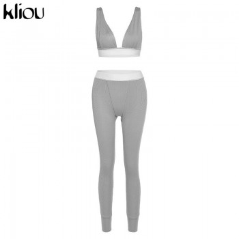 Kliou fitness sporty women tracksuit sleeveless v-enck tank stretchy leggings ribbed bra two piece set solid streetwear outfits
