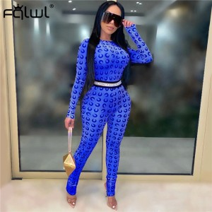 FQLWL Moon Print Summer Sexy Rompers Womens Jumpsuit Female Long Sleeve Pink Neon Skinny One Piece Ladies Bodycon Jumpsuit Women