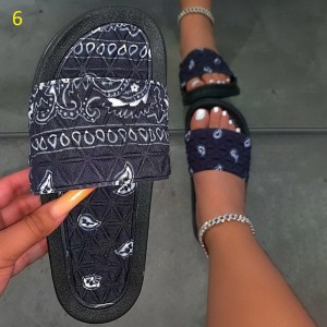 Puimentiua Women's Comfy Bandana Slip-On Slippers Slide Indoor Outdoor Flip-flops Beach Shoes Summer Toe Flip Flops Non-Slip