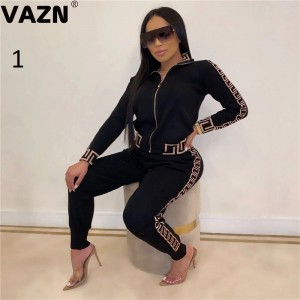 VAZN Autumn Sport V-neck Striped Comfortable Sexy 2019 Set full sleeve 2 Piece Sets Night Club Young Lady Sport Sets