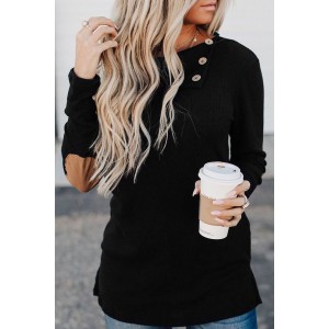 Black Buttoned Neck Knit Long Sleeves Top