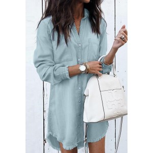 Green Denim Long Sleeve Shirt Dress Sky Blue
