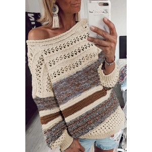 Purple Loose Openwork Round Neck Sweater Brown