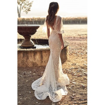 Sexy V Neck Botanical Lace Wedding Party Dress