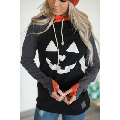 Double Hood Halloween Pumpkin Face Sweatshirt Spice
