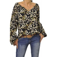 Multicolor Color Block Casual V-Neckline Long Sleeve Blouse White Black