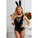 Mesh Lace Splicing Bunny Girl Costume Sexy Teddy Lingerie