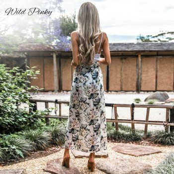WildPinky 2020 Boho Summer Style Print Skirts Women High Waist Long Skirts Vintage Elegant Split Floral Print Beach Skirt Female
