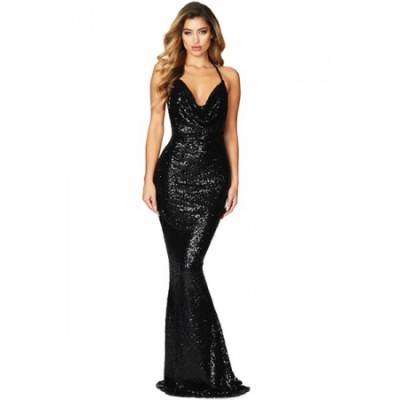 Navy Daring Bare Back Sequined Mermaid Gown Black