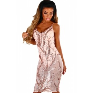 Pink Sheer Sequined Midi Bodysuit Dress