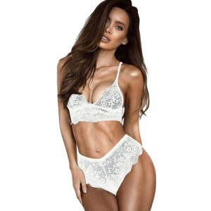 White Lace Bralette Erotic 2pcs Lingerie Set