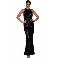 Black Crossover Low Back Sequin Gown