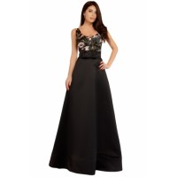Black Empire Waist Sleeveless Party Gown Dress