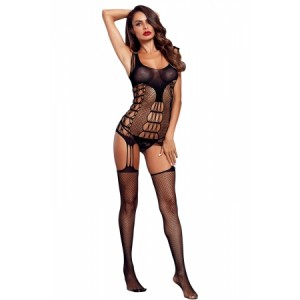 Black Strappy Cutout Detail Open Crotch Bodystocking