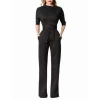Navy Blue Slanted One Shoulder Wide Leg Jumpsuit Black