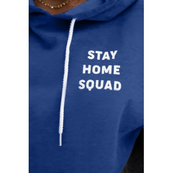 Black Stay Home Squad Pocketed Cotton Blend Hoodie Blue Gray