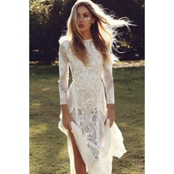 Dreamy Long Sleeve Floral Lace Wedding Party Dress