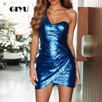 GIYU Women Dress Sequins Party Mini Dresses Slim Open Back Vestido de fiesta de noche Sexy Skinny One Shoulder Blue Champagne
