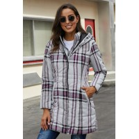 Gray Vintage Plaid Cotton Quilted Trench Coat Brown Blue