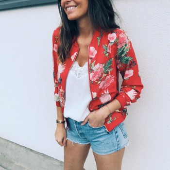 Spring Women's Jacket Floral Printed Plus Size Jackets Zipper Short Female Coat Tops O-Neck Long Sleeve Casual Bomber Jacket Black White Red Green