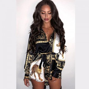 Women Fashion Floral Print Summer Dress European Sexy Long Sleeve Ladies Shirt Dress Casual Turn-down Collar Loose Dress Women Black Red