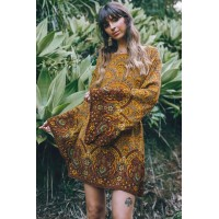 Yellow Starlight Bell Sleeve Shift Print Dress Orange