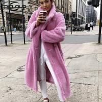 2020 Pink Long Teddy Bear Jacket Coat Women Winter Thick Warm Oversized Overcoat Women Faux Lambswool Fur Coats Chunky Outerwear