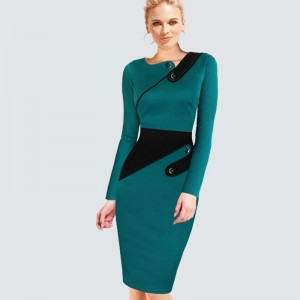 Elegant Wear To Work Women Office Business Dress Casual Tunic Bodycon Sheath Fitted Formal Pencil Dress