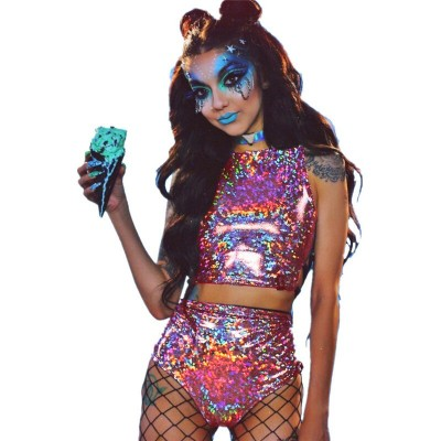 Festival Queen Holographic Crop Top and Hot Shorts Women 2 Piece Sets Sexy Lace Up Festival Party Rave Clothing Two Piece Set