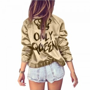 Harajuku Autumn Women Bomber jacket Women Coat Crown Queen Print Long Sleeve Zipper Top Coat Biker Casual Short Outwear Only Queen Gold Gray