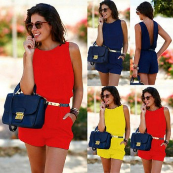New Women Summer Playsuit Bodycon Clubwear Evening Party Blackless Jumpsuit Pocket Romper Trousers Yellow Blue Red