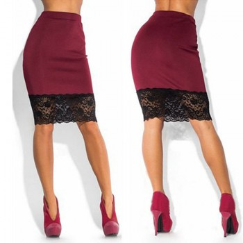 Sexy Women Formal Stretch High Waist Short Lace Mini Skirt Pencil Skirt Red Black Skirt