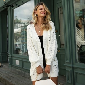 Simplee Autumn women shrug knitted cardigan Casual long white hollow out cardigan sweater Loose winter female outerwear coat new White