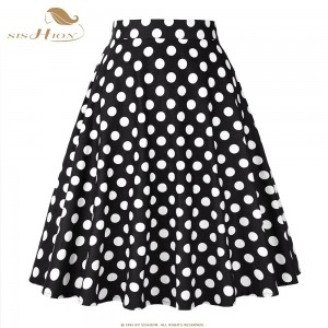 SISHION Women Skirt Blue Red Black White Polka Dot High Waist Vintage Skater faldas mujer Plus Size School Short Skirt