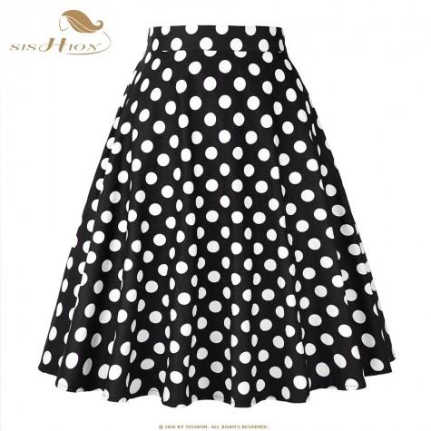 SISHION Women Skirt Blue Red Black White Polka Dot High ...