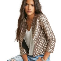 Spring Style Vogue Lozenge Women Gold Sequins Jackets Three quater sleeve Fashion Coats Outwears