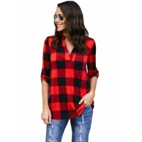 Black White Tricolor Plaid V Neck Blouse Red Purple