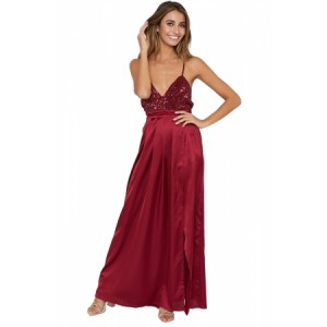 Burgundy Sequined Silky Maxi Party Dress