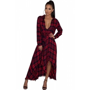 Red Black Plaid Fringed Hem Long Shirt Dress